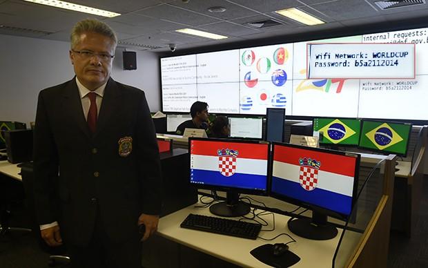 Centro de Cooperação Policial Internacional da Polícia Federal para a Copa do Mundo e a senha do Wifi Foto: Ed Alves/CB/D.A Press