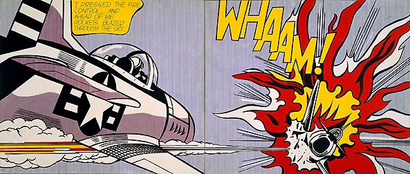 """Roy Lichtenstein Whaam"" by Source. Licensed under Fair use via Wikipedia"